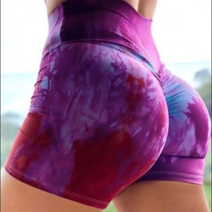 Tie Dye High Waist Yoga Shorts